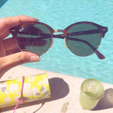 Rayban Sunglasses and eyeglasses by the pool