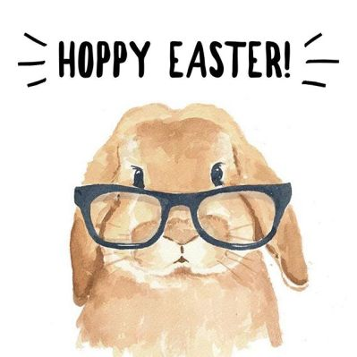 Hoppy Easter. This shows a watercolor paiting of a rabbit wearing eyeglasses.
