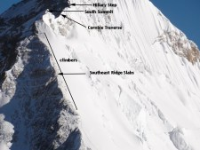 Everest Southeast Ridge in 2011 as seen from Lhotse