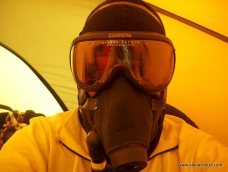 Alan with Oxygen Mask on Everest 2002
