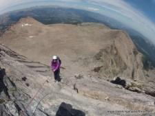 Going Through a Cave to Reach Longs Peak Summit