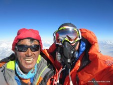 Alan and Kami Sherpa on the summit of K2, July 27, 2014