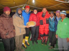 Team celebration with great cake at K2 Base camp