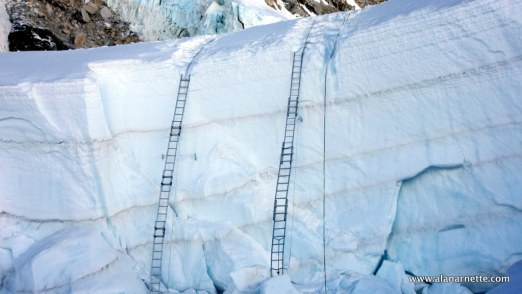 Ladders at the top of the Khumbu Icefall before earthquake