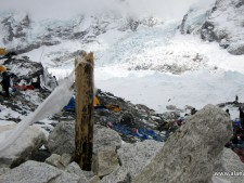 Our Puja Pole at Base Camp broken by air blast