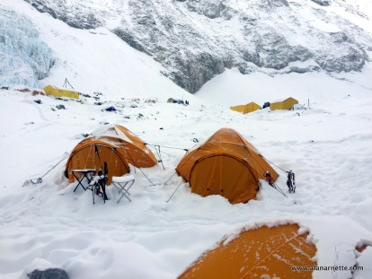 Camp 2 at 21,500' in the Western Cwm