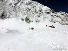 Rescue helicopters in the Western Cwm at Camp 1, 19,500 feet.