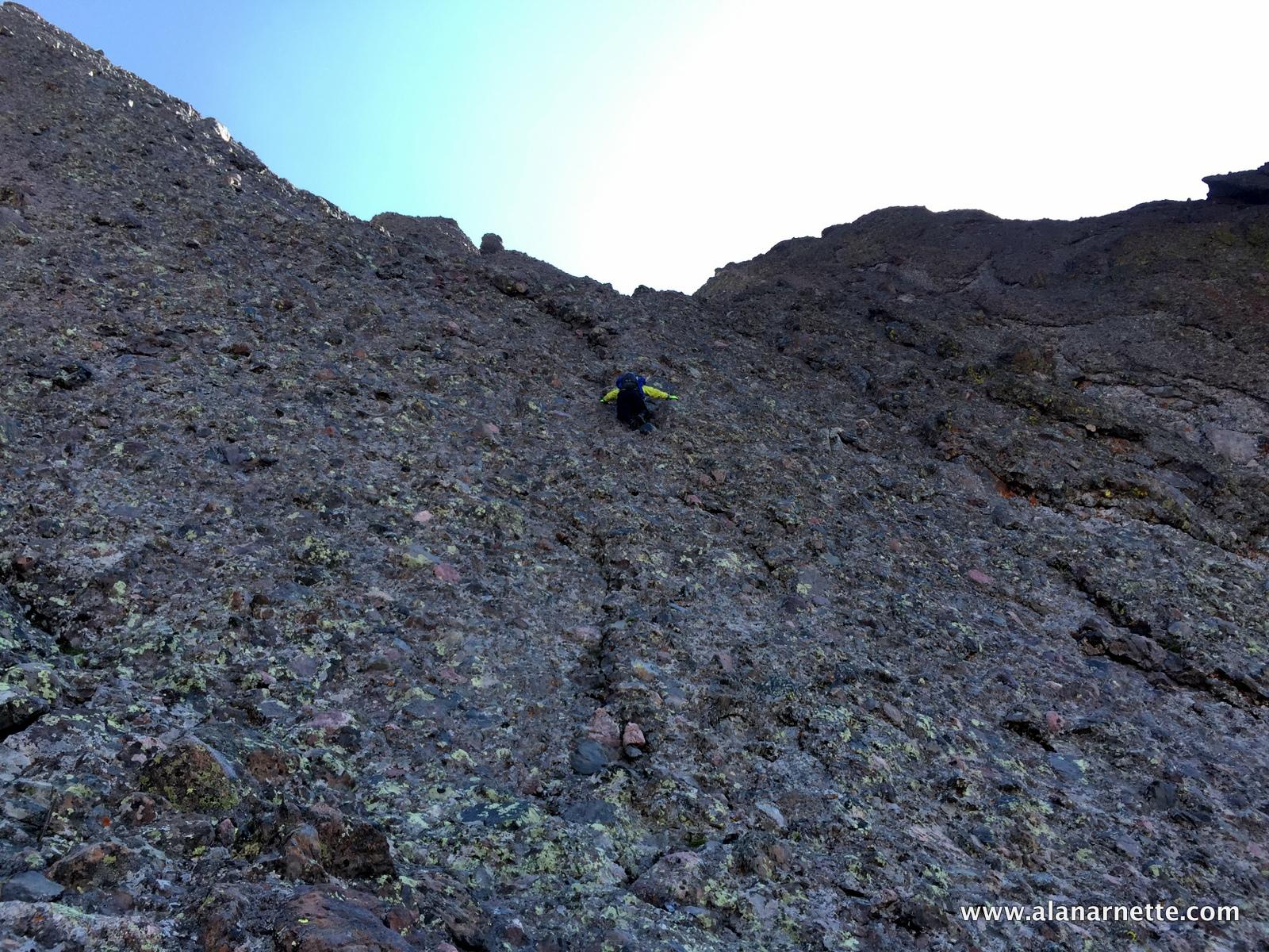 Climbing one of two headwalls, Class 4