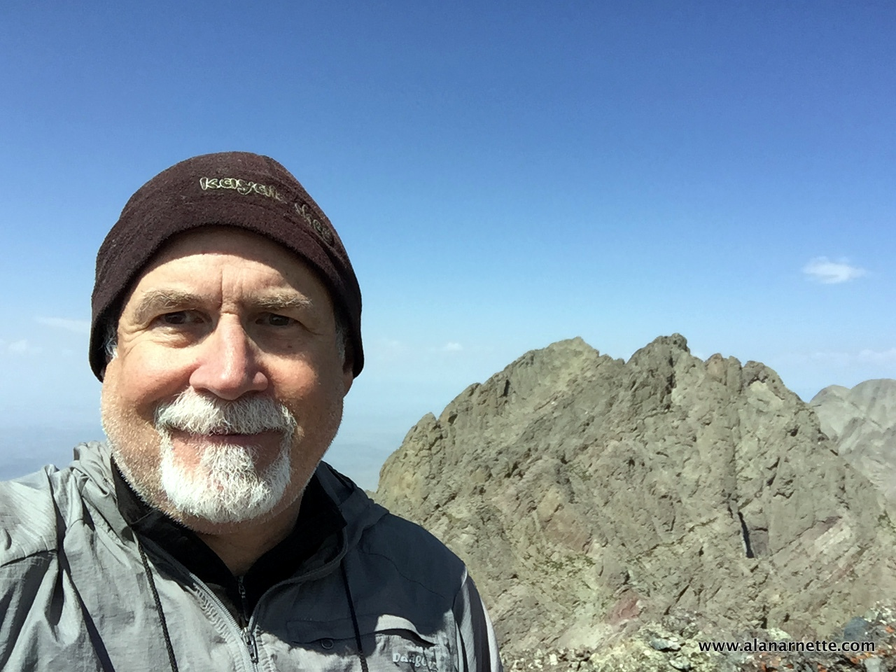 My obligatory selfie on the summit Crestone Needle with Crestone Peak in the background.