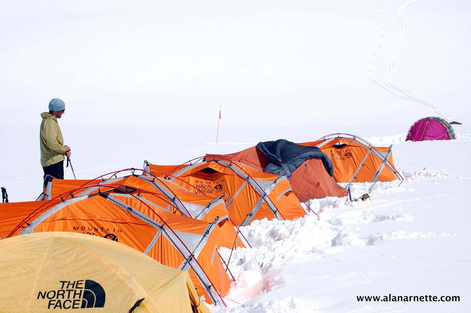Camp 2 at 7100m or 23,300 feet on Shishapangma (26,335 feet 8,027 meters) in 2007.