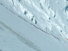 Climber line on Lhotse Face in 2012. Courtesy of Ralf Dujmovits
