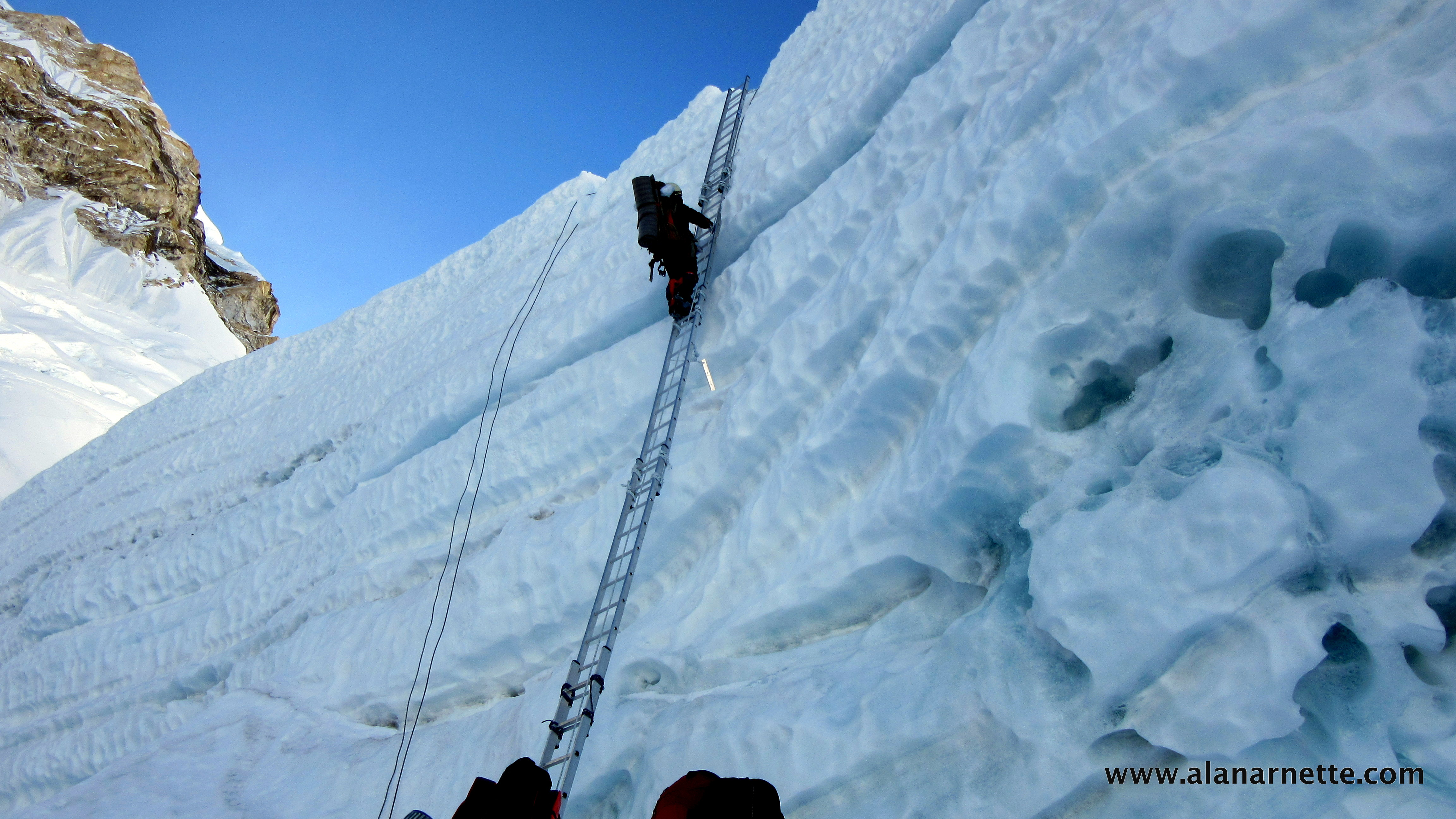 Climbing in the Khumbu Icefall