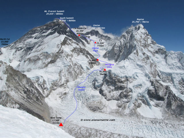 Everest Southeast Ridge Route Map. Courtesy of www.alanarnette.com © reproduction prohibited without authorization