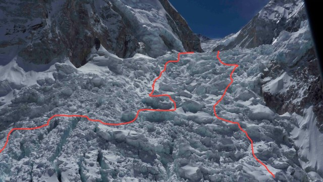 New Icefall route 2015. Courtesy of Maddison Mountaineering