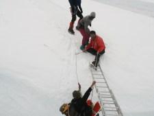 Falling off ladder in Khumbu Icefall. courtesy of Bill Burke