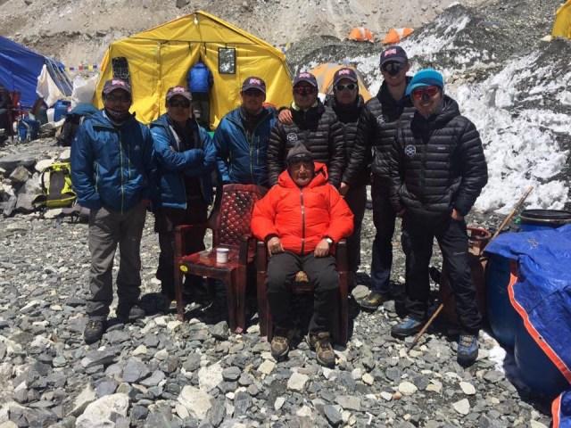 Gurkha Everest team's with Minbahadur Sherchan