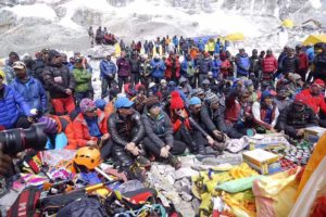 Sherpa protest at EBC 2017. courtesy of Mingma Sherpa