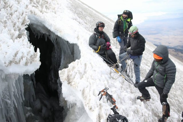 Orizaba crevasse in February 2016 near 18,100' source SummitPost.org