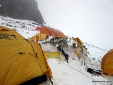 Shattered tents at Camp 2 on K2