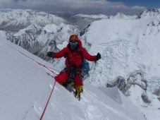 Fixing the route on 2018 Nuptse by Prakash Sherpa