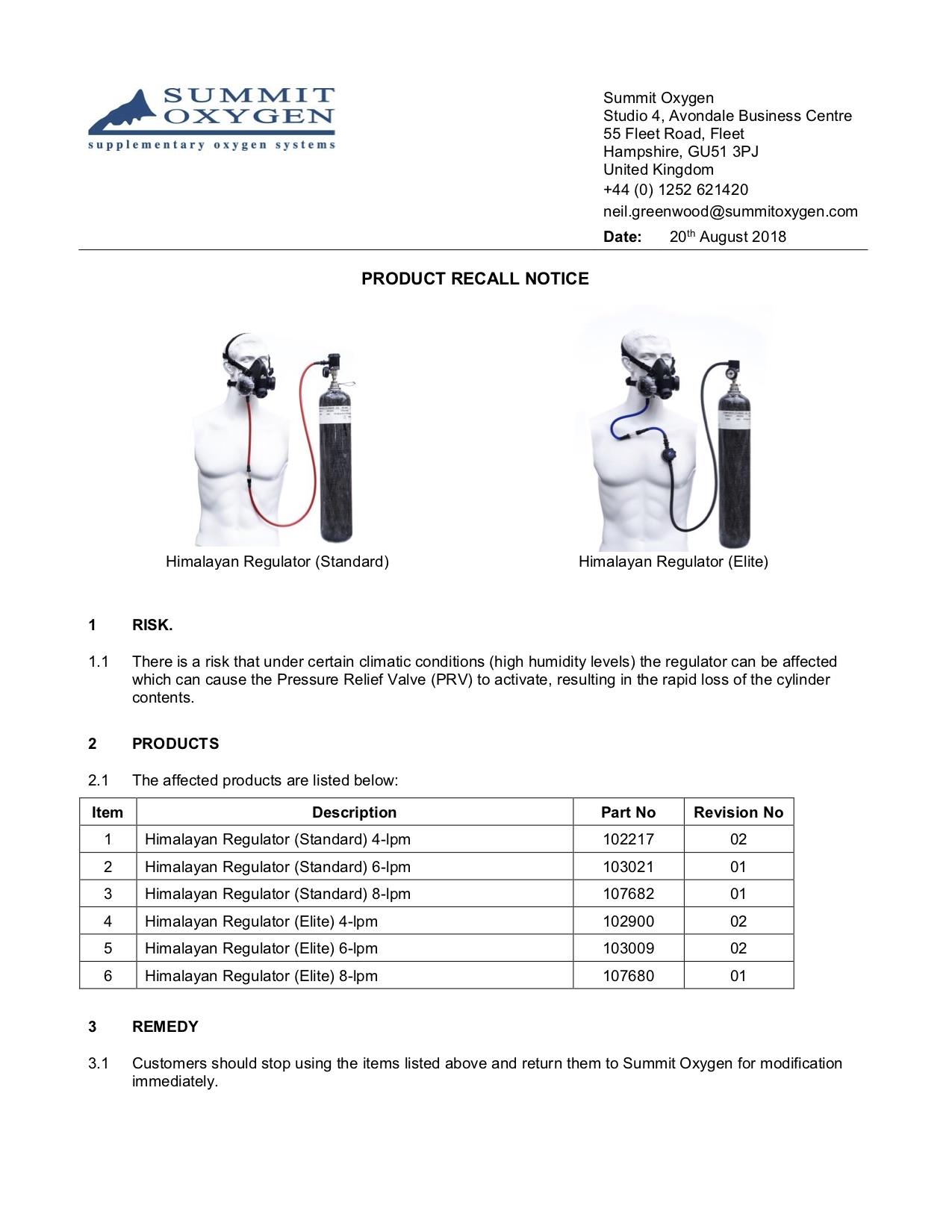 Product Recall Notice_Himalayan Regulator