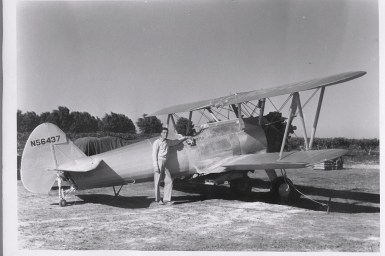 Rebecca's father RA Phillips and the first of the Stearman's he used for the aero ag business.