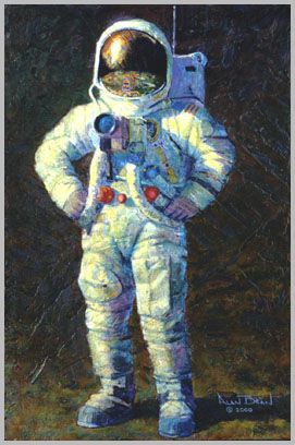 Contented astronaut with hands on hips