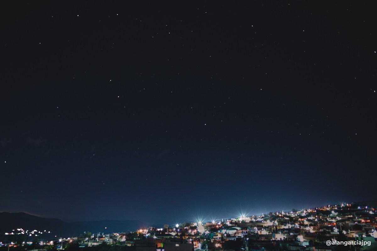 Noche con estrellas en Apan, Hidalgo.