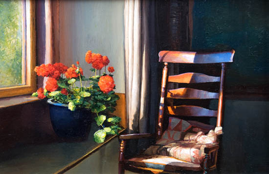 Rocking Chair and Geraniums  Still Life  Painting