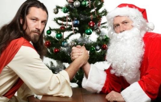 jesus vs santa armwrestle - Jesus Santa