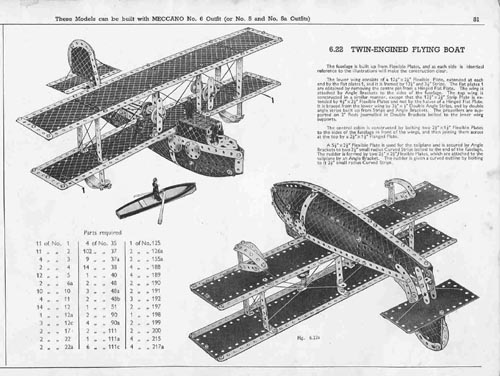 Meccano model page 33 1937 Twin Engined Flying Boat