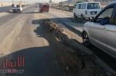 بالصور: تصدعات ومرتفعات بطريق الاوتوستُراد قبل كمين مايو تنذر بوقوع كارثة وسقوط ضحايا