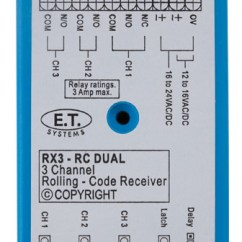 Roller Door Wiring Diagram Time Clock E.t. Systems Recievers Et 3-channel Receiver