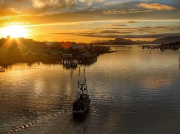 Sunset in Southeast Alaska Harbor