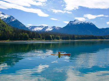 Solo Sea Kayaker in Scenic Protected Waters