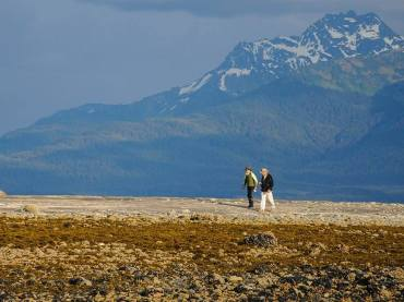 Walking on a Sandbar at Orca Point Lodge