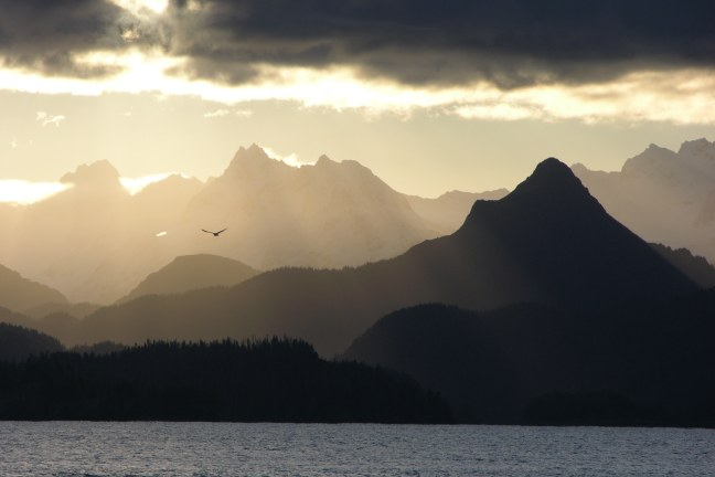 Sunset over Kachemak Bay and China Poot Mountain
