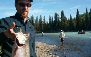 Jason with king salmon on Kasilof River