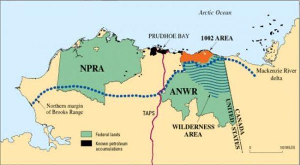 A map of Alaska, outlining the Arctic National Wildlife Refuge.