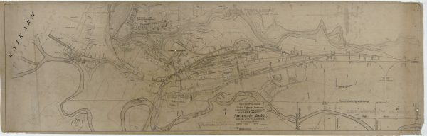 A map of Anchorage's railroad system dating back to January 1921, as found in the Alaska Railroad archives. (Photo courtesy of Bob French)