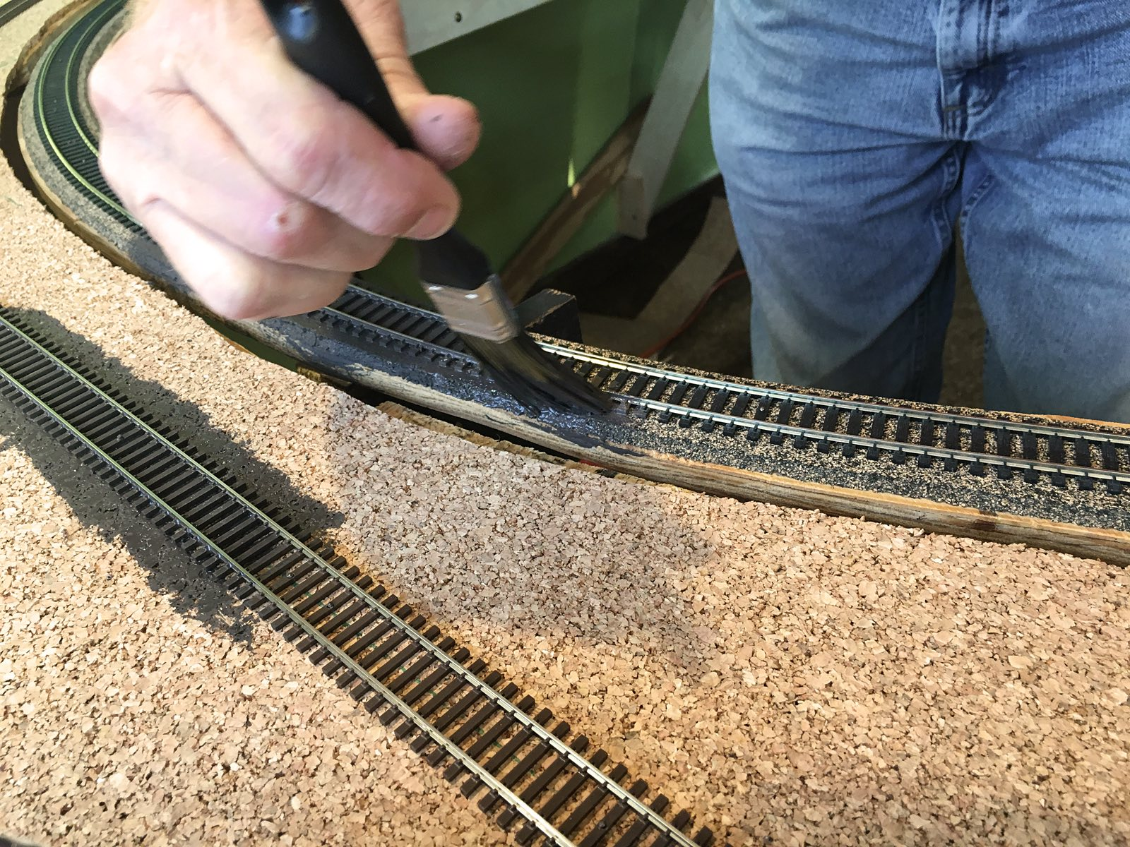 hight resolution of tom begins painting track and cork using a 50 50 mix of water and camouflage colored paint eventually ballast will be laid and if coverage is not perfect