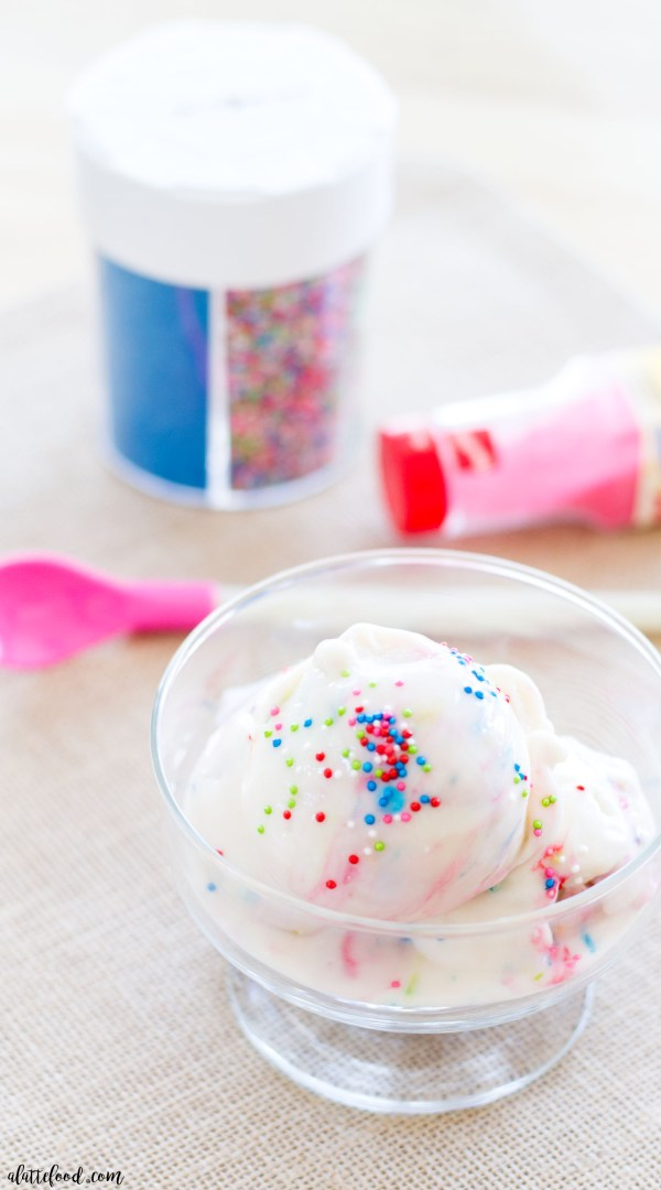 This cake batter frozen yogurt recipe is rich, creamy, and tastes more like ice cream than it does frozen yogurt. This homemade frozen yogurt recipe is the perfect guilt-free summer snack.