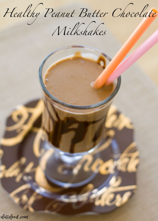 This peanut butter banana chocolate milkshake is sweet, rich, and packed with protein! This healthier milkshake is creamy and flavorful with the guilt!