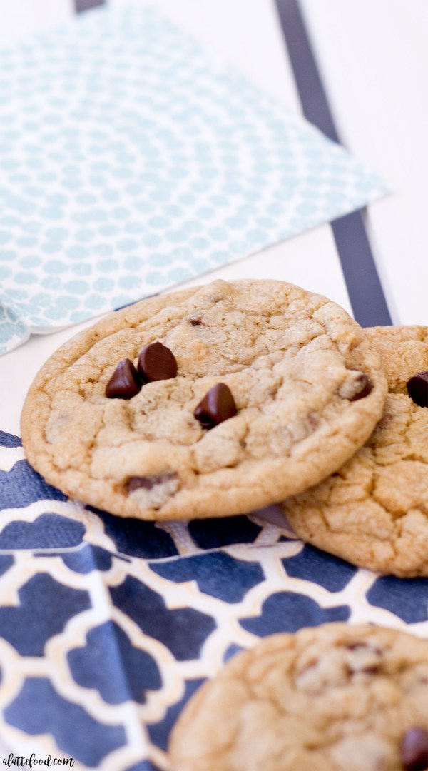 The absolute perfect chocolate chip cookie recipe! These homemade chocolate chip cookies are chewy, chocolatey, and have a few secret ingredients that make this traditional chocolate chip cookie one of  the best ones you've ever had!