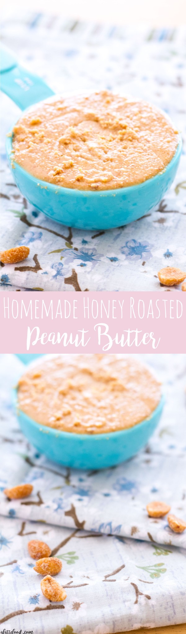 Homemade Peanut Butter is such a simple recipe! Honey Roasted Peanuts are pureed until they are smooth and creamy, making the best Homemade Honey Roasted Peanut Butter!