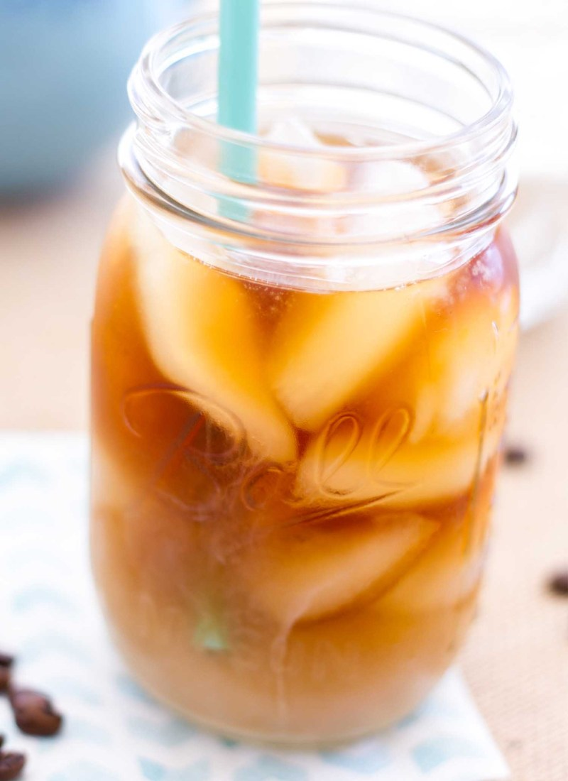 homemade iced coffee in a glass