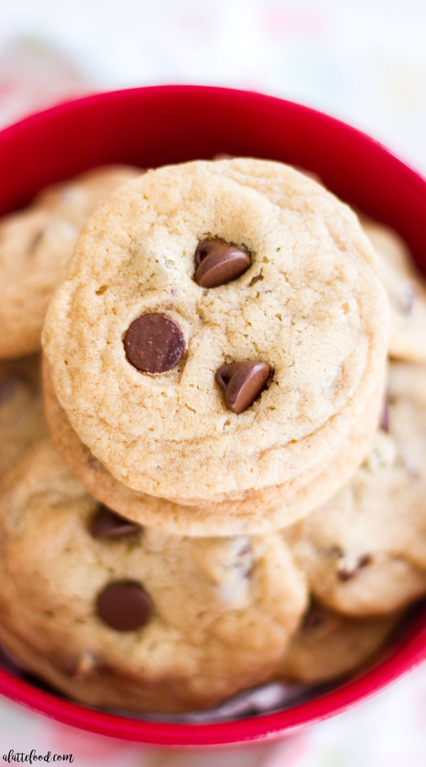 These homemade Chocolate Chip Cookies are mini-sized, making them perfect for those days when you need 3 or 4! The sweetest (and cutest) Chocolate Chip Cookie dessert!