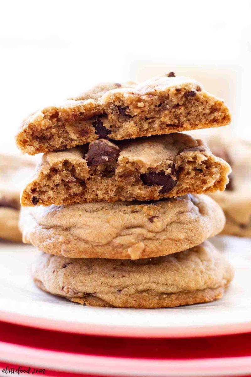 stack of chocolate chip toffee cookies cut in half