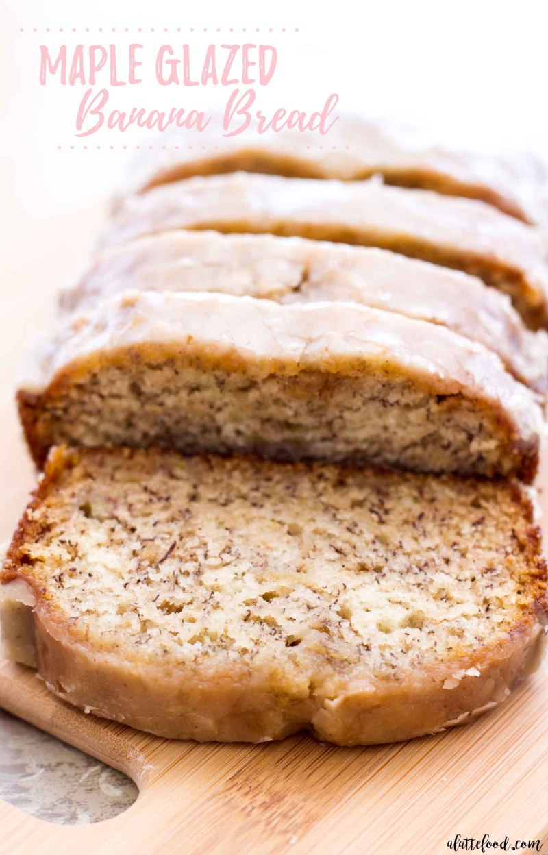 maple banana bread loaf on wooden cutting board with text
