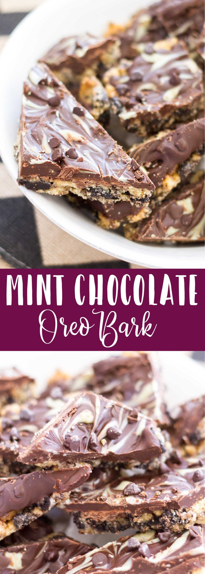 The classic and delicious combination of mint and chocolate is paired with an Oreo cookie crust to create the tastiest, most addictive chocolate bark! You're going to flip over these. Mint chocolate oreo bark is an easy recipe that is perfect for a chocolate fix!